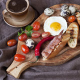 Traditional breakfast with coffee , fried eggs and toast Royalty Free Stock Photography