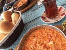 Traditional breakfast with omelet and turkish tea on wooden tabl Stock Photography
