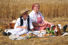 Traditional breakfast of wheat field stock image