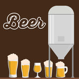 Traditional brewing with differents beer glasses Royalty Free Stock Image