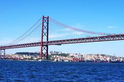 The traditional bridge over the river tagus (tejo) Stock Image