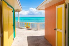 Traditional bright Caribbean houses on shore Stock Image