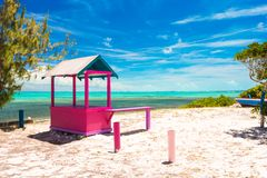 Traditional bright Caribbean houses on shore Stock Photo
