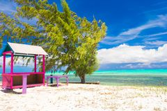 Traditional bright Caribbean houses on shore Royalty Free Stock Photos