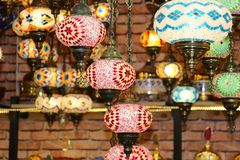 Traditional bright decorative hanging Turkish lamps and colourful lights with vivid colours  in the Istanbul Bazaar, Turkey stock photo