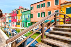 Colorful houses and canals on the island of Burano near Venice Royalty Free Stock Images
