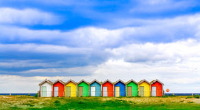 Traditional British Beach Huts Royalty Free Stock Photos