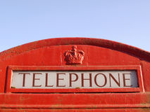 Traditional British Red Phone Box. Close up Detail of the Word 'Telephone' on a Traditional British Red Phone Box Royalty Free Stock Photos