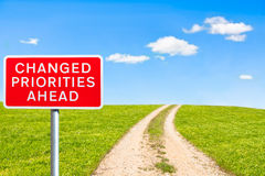Road sign priorities changed ahead Stock Image