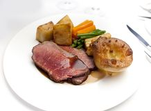 Traditional British Roast Beef & Yorkshire Pudding Royalty Free Stock Photos