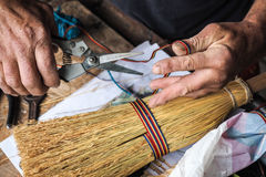 Traditional broom maker in the saxon village of Altana, Sibiu, R Stock Photos
