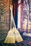 Traditional brooms Stock Photos