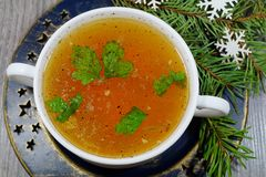 Traditional broth served at Christmas dinner Stock Image
