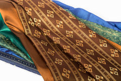 Traditional brown Thai fabric pattern Stock Photography