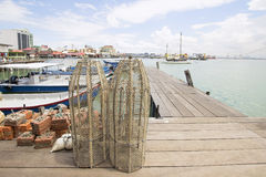 Fish Trap on Jetty in Penang Royalty Free Stock Photo