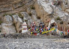 Traditional Buddhist chortens stand in the Himalayan mountains in the place of worship of the gods. Traditional Buddhist chortens stand in the Himalayan Royalty Free Stock Photography