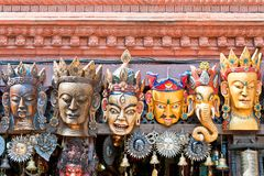 Traditional Buddhist festival masks. On a shop window in Kathmandu Nepal Stock Images