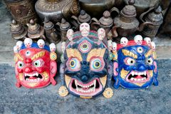 Traditional Buddhist festival masks at the shop window in Kathmandu Nepal Stock Images