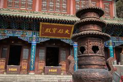 Traditional buddhist shrine with sign saying. Something in Chinese stock photos