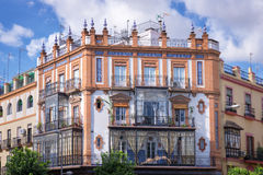 Traditional building with bow windows, Triana district, Seville Stock Images