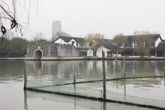 The traditional building and bridge in the South Lake(Jiaxing) Stock Photography