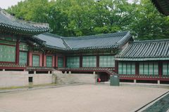 Traditional building at Gyeongbokgung palace in Seoul, South Korea. royalty free stock image