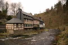 Traditional building Monschau. Monschau is a city in the west of Germany, located in the district Aachen, North Rhine-Westphalia stock photography
