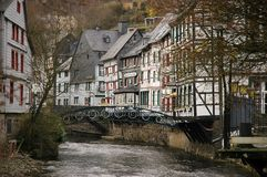 Traditional building Monschau. Monschau is a city in the west of Germany, located in the district Aachen, North Rhine-Westphalia Royalty Free Stock Photography