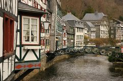 Traditional building Monschau. Monschau is a city in the west of Germany, located in the district Aachen, North Rhine-Westphalia Stock Images