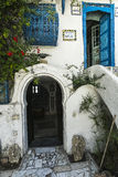 Traditional building in Tunis. Traditional white and blue building in Tunis. Street in Tunis, Tunisia. Africa Stock Photography