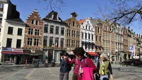 The traditional buildings in Brussels downtown stock footage