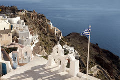 Traditional buildings in Oia, Santorini during sunset Stock Images