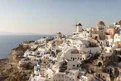 Traditional buildings in Oia, Santorini during sunset Royalty Free Stock Image