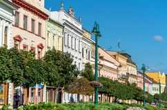 Traditional buildings in the old town of Presov, Slovakia Royalty Free Stock Photography