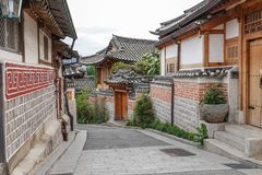 Traditional Bukchon Folk Village in South Korea stock photos