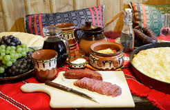 Traditional Bulagrian food. Traditional Bulgarian food on table stock image