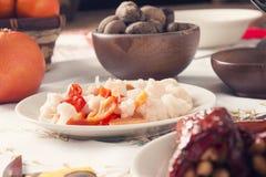 Traditional Bulgarian Christmas Eve Table Setup. Vegetarian Food Royalty Free Stock Photos