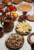 Traditional Bulgarian Christmas food. Table setup for Christmas Eve with traditional Bulgarian vegetarian food royalty free stock images