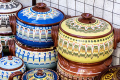 Traditional bulgarian clay pots Stock Image