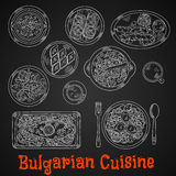 Traditional bulgarian cuisine chalk sketches Stock Photos