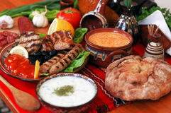 Traditional Bulgarian Dining-table. Traditional bulgarian food on arranged dining table Stock Image