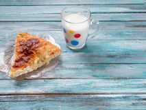 Traditional Bulgarian dish Banitsa on a wooden table Royalty Free Stock Images