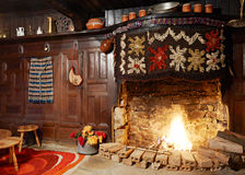 Traditional Bulgarian fireplace. Fireplace inside traditional Bulgarian wooden house from the revival period in Zheravna village, bulgaria Royalty Free Stock Photography