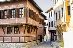Traditional bulgarian houses in the old town of Plovdiv, Bulgaria Royalty Free Stock Images