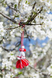 Traditional bulgarian martenitsa on a blooming spring tree Stock Photos