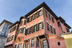 Traditional bulgarian  red house in the old town of Plovdiv, Bulgaria Royalty Free Stock Photography