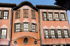 Traditional bulgarian  red house in the old town of Plovdiv, Bulgaria Stock Photos