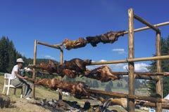 Traditional Bulgarian roasting lamb barbecue Royalty Free Stock Photo