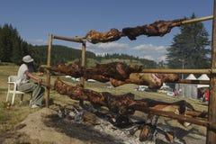 Traditional Bulgarian roasting lamb barbecue Stock Photos