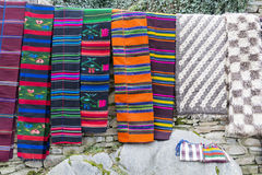 Traditional bulgarian rugs with stripes and vivid  colors Royalty Free Stock Images